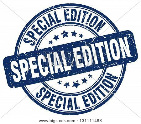 Special Edition Blue Grunge Round Vintage Rubber Stamp.special Edition Stamp.special Edition Round S