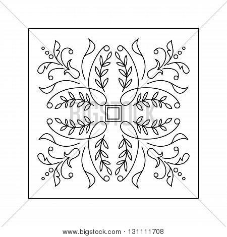Abstract  floral pattern with twig and leaf. Decorative element.