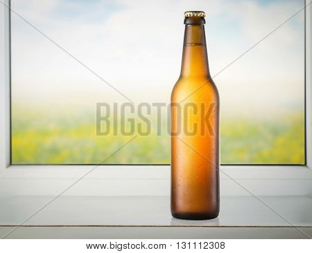 Cold beer bottle at a window with natural background