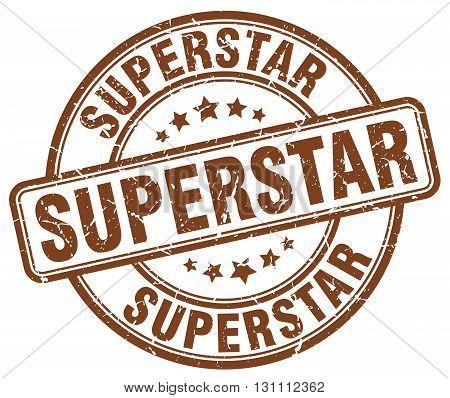 Superstar Brown Grunge Round Vintage Rubber Stamp.superstar Stamp.superstar Round Stamp.superstar Gr
