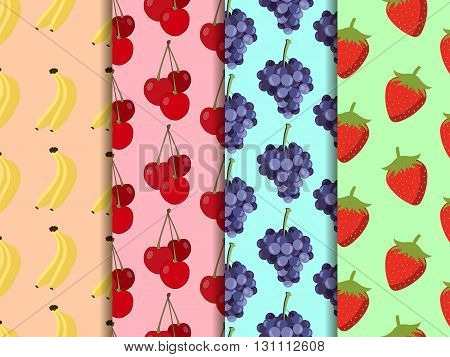Set Of Seamless Pattern With Fruit. Pattern Of Bananas, Cherries, Strawberries And Grapes. Vector Ba