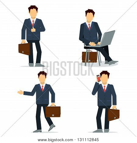 Vector illustration of business man isolated on white in different poses. With brifcase, laptop, phone. Modern flat simple character