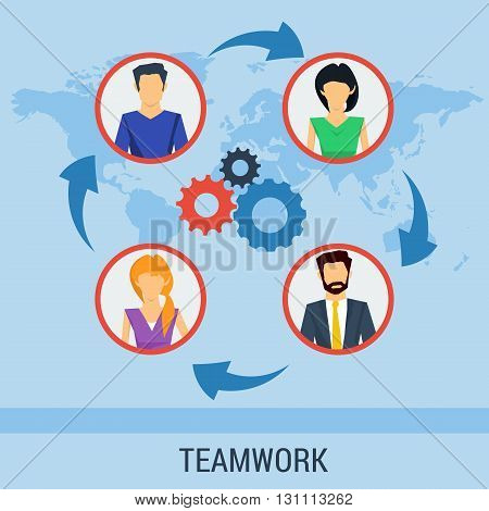 Vector concept teamwork, social network, communication around the globe. Team various of men and women working together successfully. Flat style. Web infographics