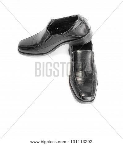 black leather shoe isolated on white background.