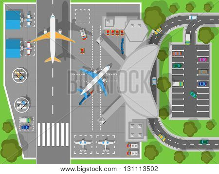 Airport top view. Terminal aircraft. Infrastructure of a large airport with hangars for aircraft and helicopter landing pad. Building of passenger terminal and parking for cars. Vector illustration