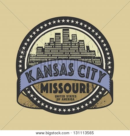 Grunge rubber stamp or label with name of Kansas City, Missouri, vector illustration