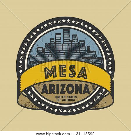 Grunge rubber stamp or label with name of Mesa, Arizona, vector illustration
