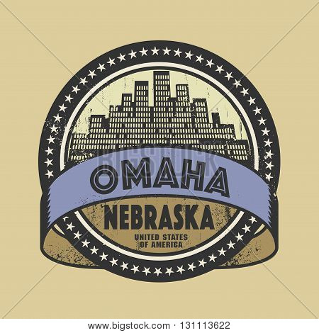 Grunge rubber stamp or label with name of Omaha, Nebraska, vector illustration
