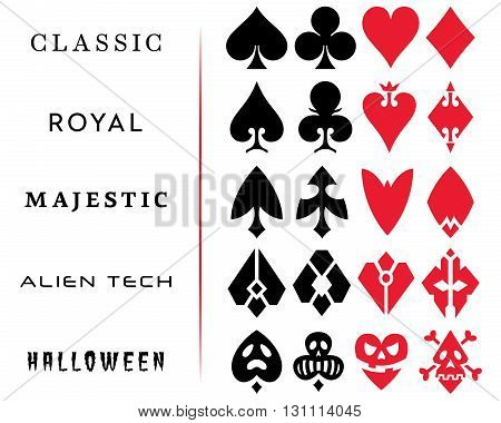 Playing Card Vector Symbols. Can be used for playing card design poker chip design casino projects etc.