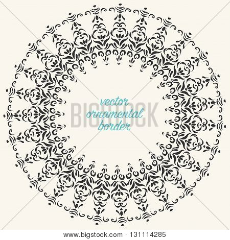 Hand drawn round decorative frame oriental mandala.