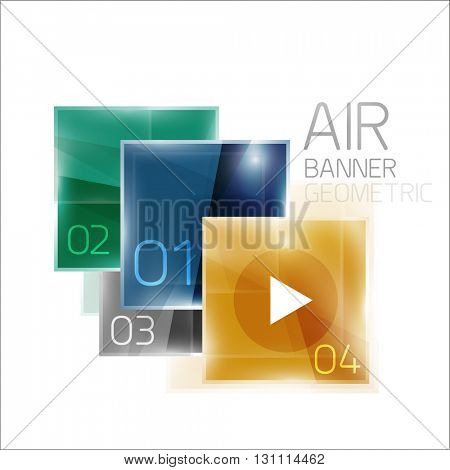 Multicolored squares with sample text. Business universal diagram and buttons