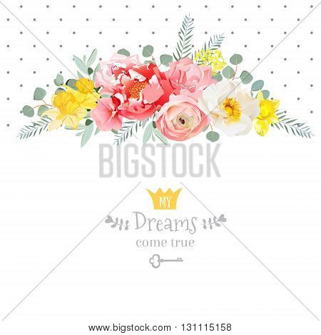 Rose narcissus pink flowers ranunculus and decorative eucaliptus leaves vector design card. Polka dots backdrop. All elements are isolated and editable.