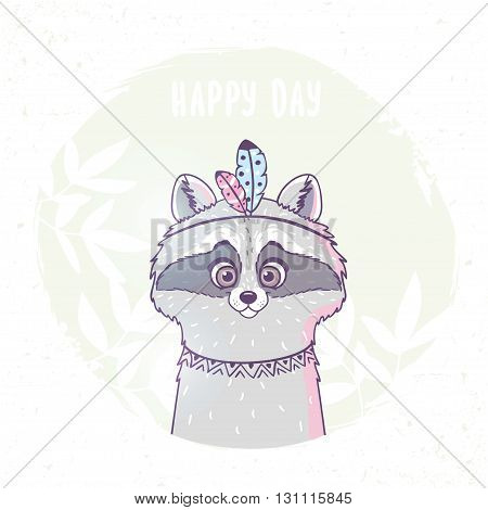 Character cute and beautiful funny raccoon with feathers in ethnic style. Vector illustration