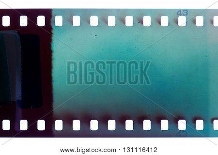 Blank blue vibrant noisy film strip texture background