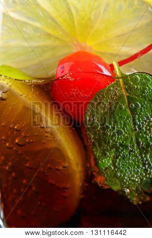 Cola With Lime , Cherry  And Peppermint