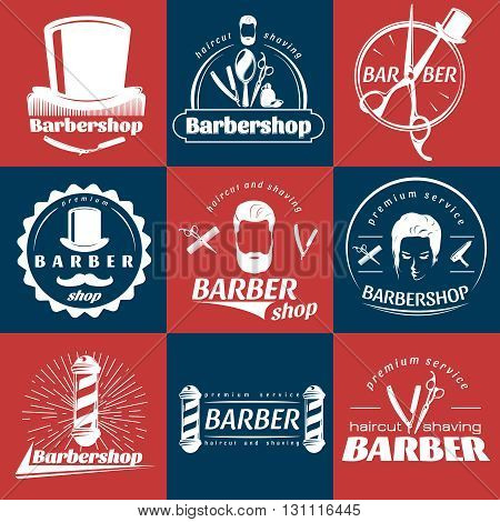 Barbershop retro style stickers with mustache scissors comb faces on red and blue backgrounds isolated vector illustration