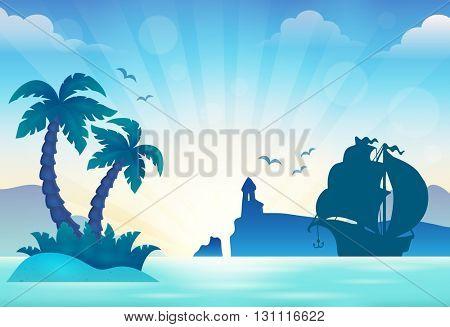 Sunset seascape theme 3 - eps10 vector illustration.