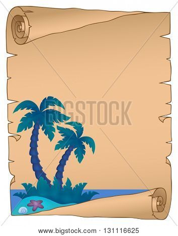 Parchment with tropical island theme 4 - eps10 vector illustration.