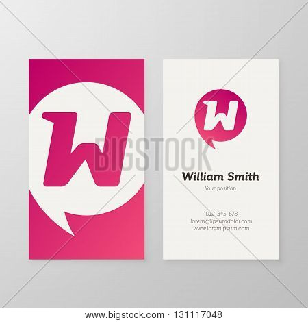 Modern letter W in speech bubble Business card template. Vector business personal card design. Layered editable.