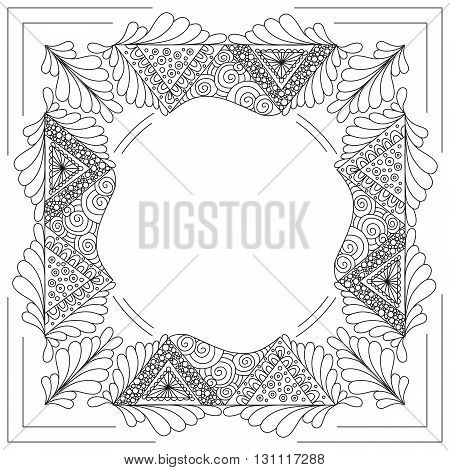 Square black and white frame with ornament doodle style.