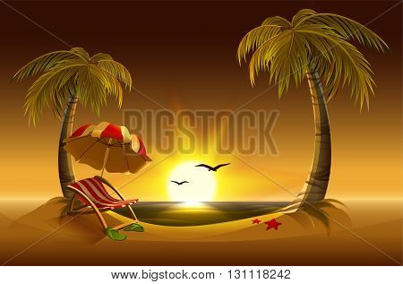 Evening beach. Sea, sun, palm trees and sand. Romantic summer vacation. Illustration in vector format