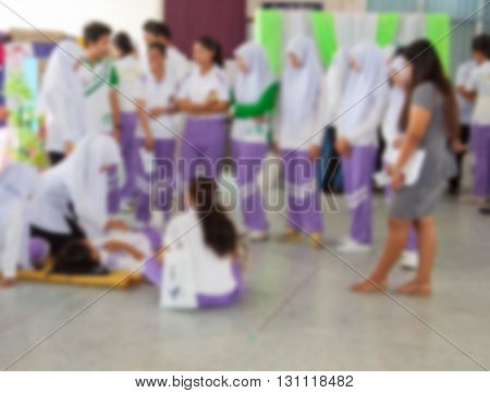 blurred blur massage Thailand Blur blurred section student In the study course of massage Thailand on the mat format ancient The teacher Instructor