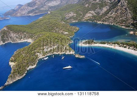Areal view over Famous Blue lagun Beach in Turkey