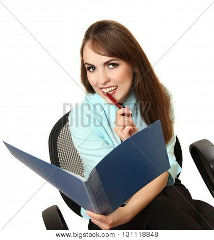 the pretty playful secretary with the folder and the pen in hands. isolated on a white background