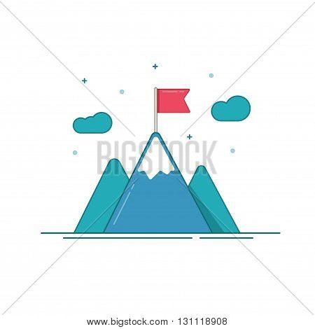 Leadership icon vector isolated on white, flat blue mountains with red flag on top, concept of success aim, mission goal, cartoon outline line leadership symbol design