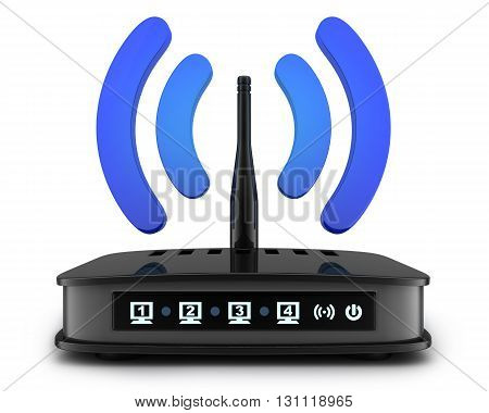 Transmitter wi-fi on white background (done in 3d)