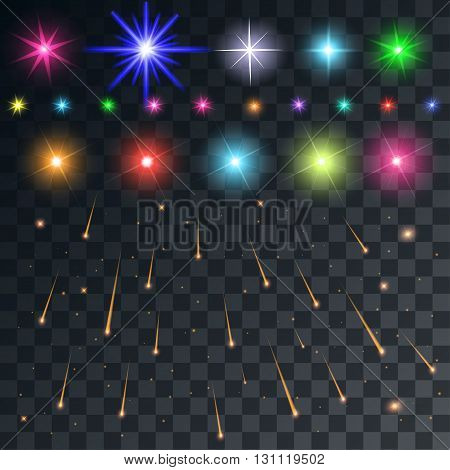 set vector space flash and stars and meteors on a transparent background