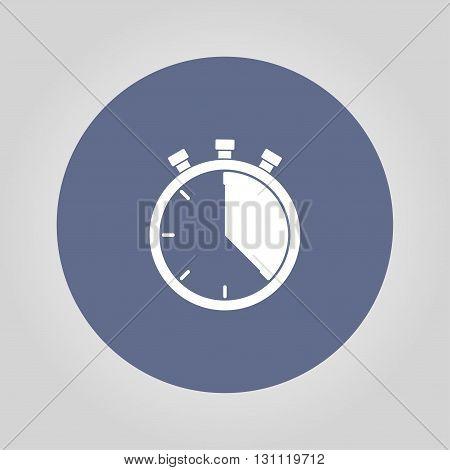 Stopwatch Icon, Vector Illustration. Flat Design Style,
