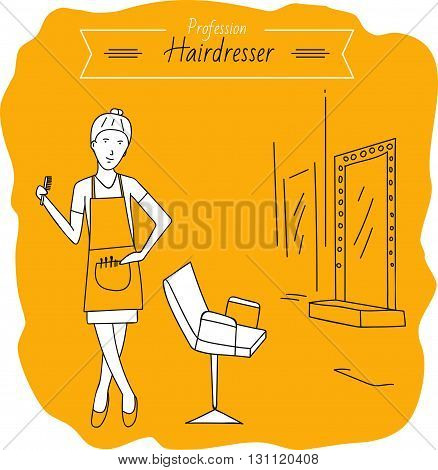 Profession hairdresser. Beauty saloon. Job. yellow background