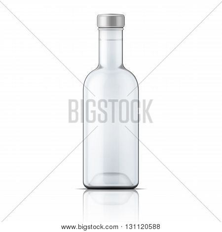 Glass vodka bottle with silver cap. Vector illustration. Packaging collection
