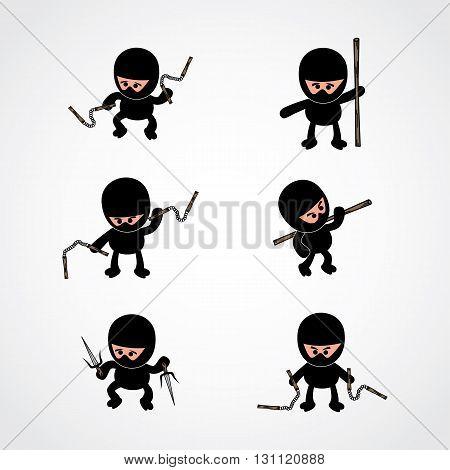 ninja boy cartoon theme vector art illustration