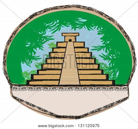 Mayan Pyramid Chichen-Itza Mexico , vector illustration