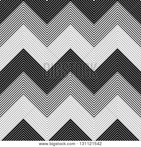 Seamless Zig Zag Pattern. Abstract  Black and White Background. Vector Chevron Texture. Monochrome Stripe and Line Design