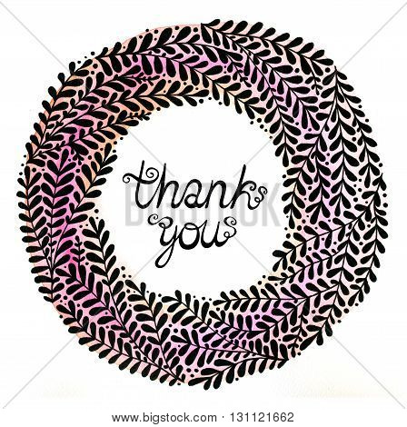 Thank you. Abstract floral wreath with black beautiful branches. Floral background for invitations, covers, postcards and ect.
