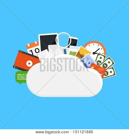 picture of a cloud with various icons - video photo money watch smartphone letter tablet etc. cloud computing cloud storage concept flat style illustration