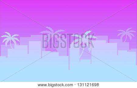 banner for the site of the town with palm trees . city ​​with palm trees on a pink background