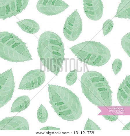 Watercolor hand drawn and painted seamless folliage pattern. Vintage green design for greeting cards an wedding invitations.