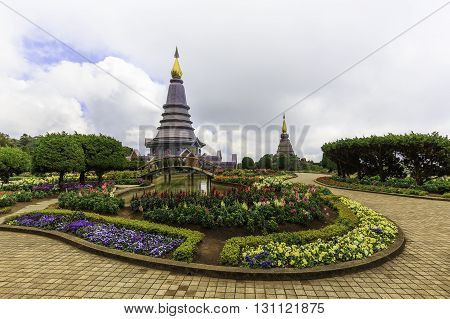 Landscape of two pagoda on the top of Inthanon mountain Chiang Mai Thailand.