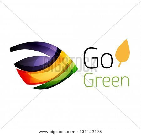 Abstract eco leaves logo design made of color pieces - various geometric shapes. Geometric nature concept. Vector colorful icon