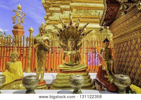 Gold buddha statues in Wat Phra That Doi Suthep Chiang Mai Thailand