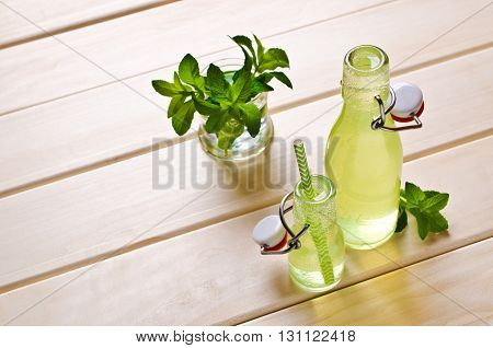 Cold drink with mint in a glass on a wooden background. Selective focus.