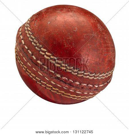 Old worn Cricket Ball on white background