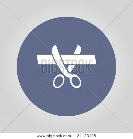 Ribbon cut with scissors symbol for download. Vector icons for video mobile apps Web sites and print projects.
