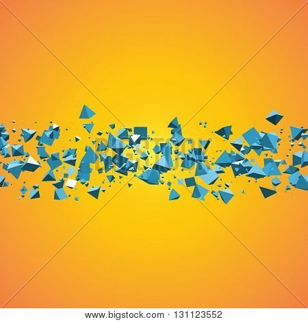 bright blue field of flying pyramids geometric abstract background with text copyspace.