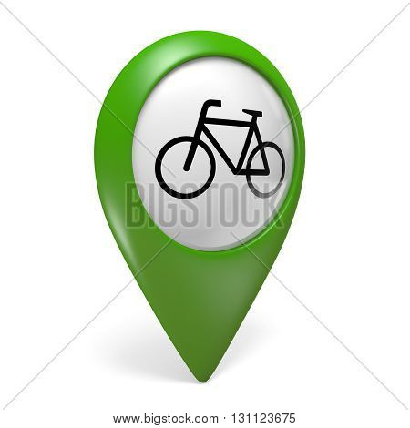 Green map pointer icon with a bicycle symbol for bike paths and cycling, 3D rendering