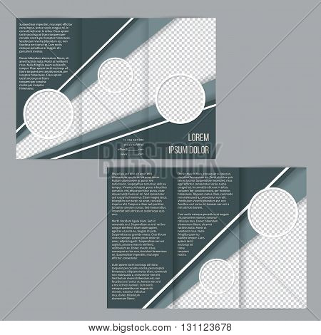 Tri-fold flyer brochure template design with green white stripes and photo container